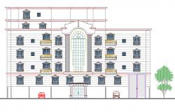 Front elevation design of building dwg file