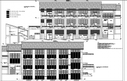 Front elevation detail and lateral elevation college plan detail dwg file