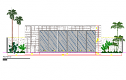Front elevation details of city sports center dwg file