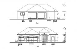 Front elevation details of single story house dwg file