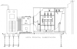Front elevation electrical substation plan layout file