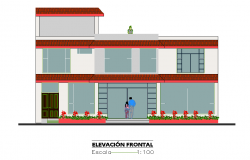Front elevation house plan detail layout file