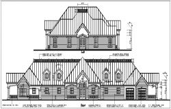 Front elevation naming with dimension in bungalow details dwg file