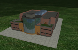 Front elevation of a medical university dwg file