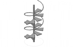 Front elevation of a spiral staircase dwg file