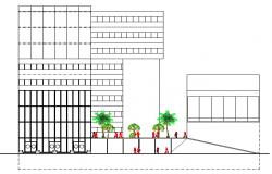 Front elevation of multi-flooring five star hotel details dwg file