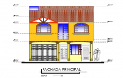 Front elevation single family house plan detail dwg file