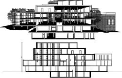 Front elevation view in-house detail dwg file