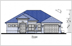 Front elevation view of house view dwg file