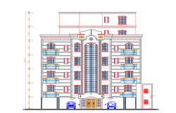 Front elevation view of multi-family apartment flats dwg file