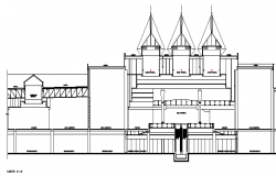 Front elevation view of multi-flooring shopping mall dwg file