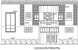 Front elevation view of municipality office dwg file
