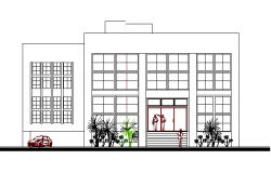 Front elevation view of office building dwg file