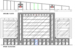 Front elevation view with ground floor plan of office building dwg file