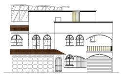 Front facade of the bungalow in dwg file