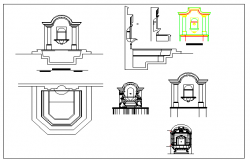 Front gate of house architecture project dwg file