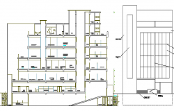 Front section and side elevation view details of bank building dwg file