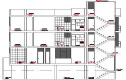 Front sectional view of multi-family residential building dwg file