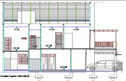 Front sectional view of shopping center details dwg file