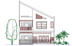Front side elevation details of shopping center dwg file