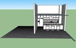 Front view kitchen 3d drawing with furniture layout skp file