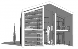 Front view of villa architecture project dwg file