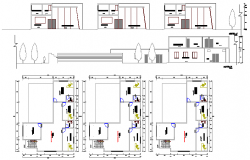 Full elevation and floor plan details of auditorium hall details dwg file