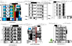 Full elevation & section plan,  Multi-flooring education building dwg file