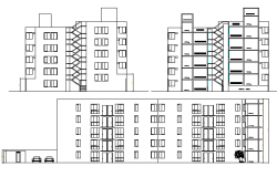 Full elevation and sectional details of multi-flooring residential building dwg file