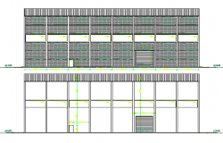 Full front and back side elevation of production house dwg file
