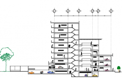 Full sectional details of commercial with housing building dwg file