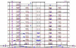 Full sectional details of corporation building dwg file