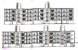 Full sectional details of residential apartment flats dwg file