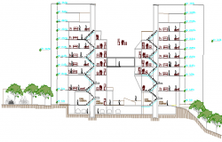 Full sectional view of multi-family housing apartment flats dwg file