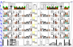 Full sectional view of multi-flooring apartment flats dwg file