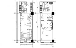 Fully Furnished Duplex Apartment Plan AutoCAD File