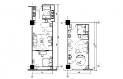 Fully Furnished Studio Apartment Plan AutoCAD File