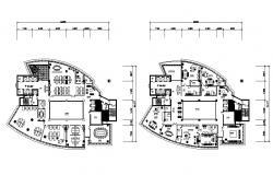 Furnished Office Building Design CAD File