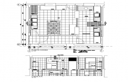 Furnished kitchen detail plan and section 2d view layout autocad file