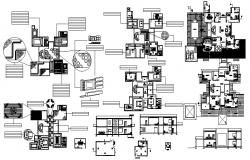 Furniture Layout plan of contemporary style farmhouse with interior design in autocad file