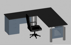 Furniture chair and table of office 3d view dwg file
