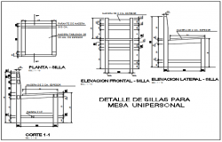 Furniture chair plan detail dwg file