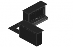 Furniture cub board 3D plan detail dwg file