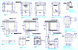 Furniture detail view for education center with section and joint view dwg file