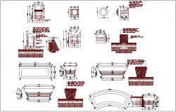 Furniture detail with plan and section view dwg file