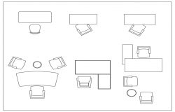 Furniture different block plan dwg file