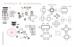 Furniture equipment and accessories plan detail dwg file.