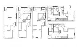 Furniture layout plan of Bedroom in dwg file