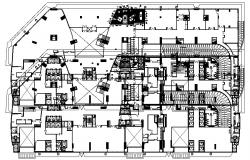 Furniture layout plan of the office building with detail dimension in dwg file