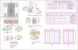 Furniture plan,detail and schedule of door and window for 3 b h k flat dwg file